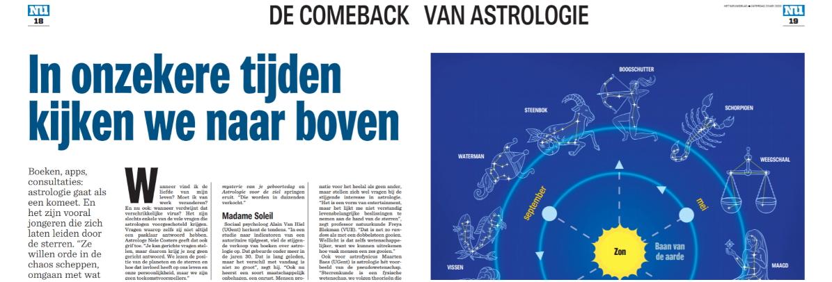 ADARA IN HET NIEUWSBLAD   De comeback van astrologie